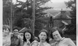 "<p>(L to R): Susan Lloyd, Joyce Low, Rhian Williams, Judy Purcell-Jones and Christine (""Kit"") Middleton taking a break from competing in the school's Sports Day held each year at Pen-y-Coed (in the background). </p>"