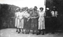 <p>Last day at school and off to pasture new. Hats thrown out of the train into Bala Lake (Llyn Tegid) </p> <p>L-R back row - Gwyneth Powell, Dilys James, Shirley Rushton, Joan Bankier </p> <p>L-R front row - Gwenda Roberts, Nesta Lloyd, Jeanette James, Anne Lloyd Davies </p> This image is from Anne Lloyd Davies's collection <br>