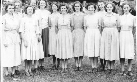 <p>Members of the school choir took part in the Youth Choir which sang at the National Eisteddfod of Wales in 1949. Twelve pupils in the 5th and 6th forms, known as Parti Deuddeg ('Party of Twelve') won with their entry 'Y mae afon' (There is a River) by Daniel Protheroe. They were trained by Menna Carrington Jones, a music teacher at DWS from 1948 to 1951.In this photo she is 5th from left. 