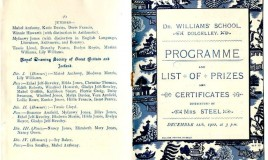 <p>The cover of the programme is printed with a blue 'willow pattern' background. The prizes in 1902 were distributed by Mrs Steel. The page shows some of those who were awarded prizes from the Royal Drawing Society of Great Britain. Miss Diana Thomas was the headmistress at the time. </p>