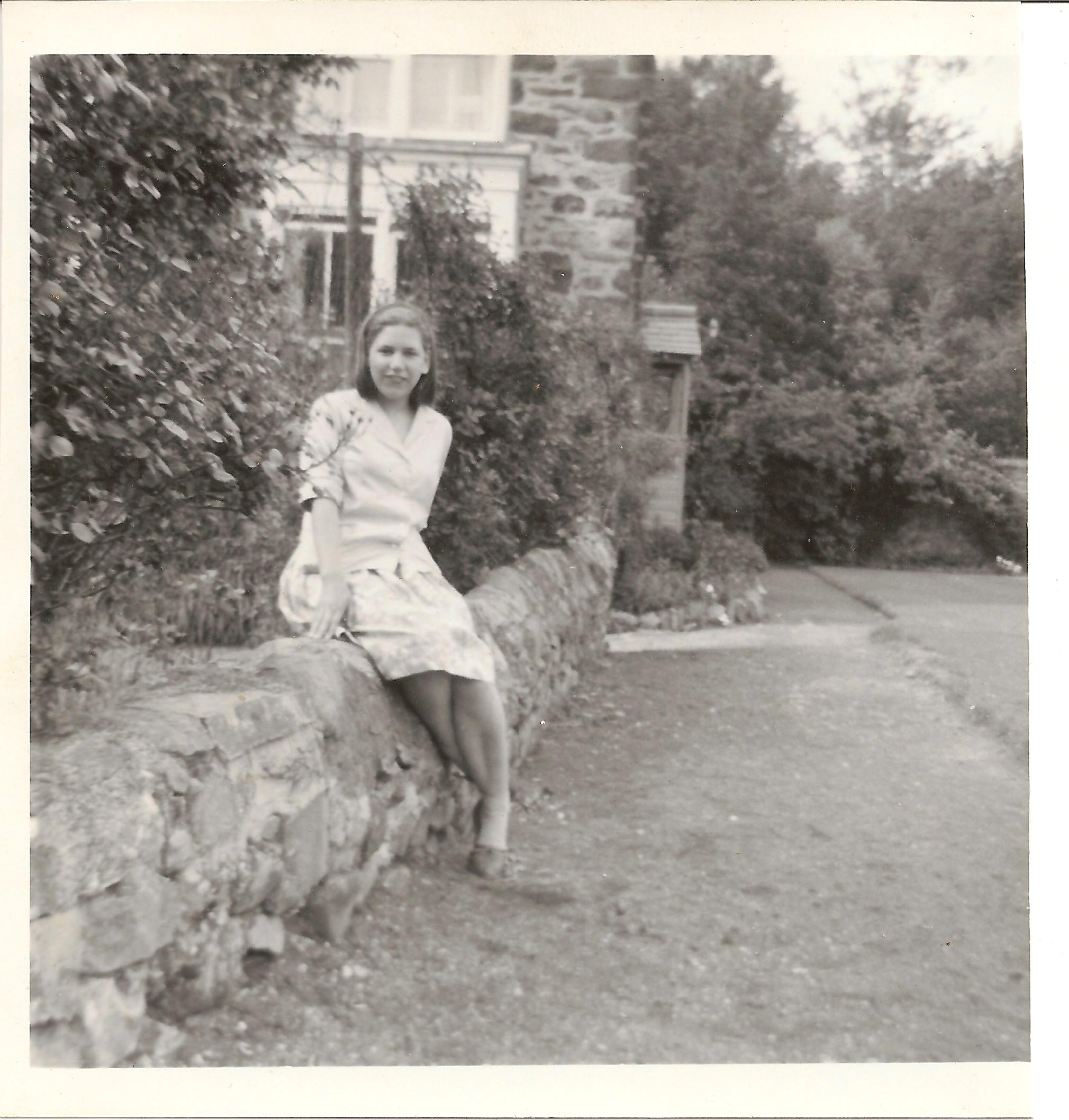 Jane Hill outside Tremhyfryd 1965