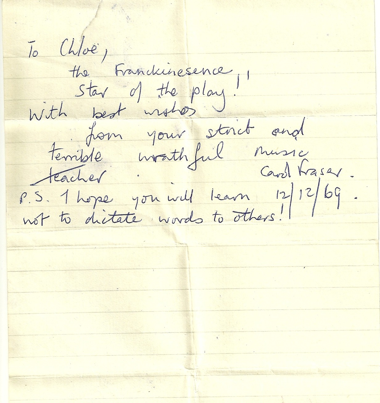 Note from a music teacher to the 'star of the play'