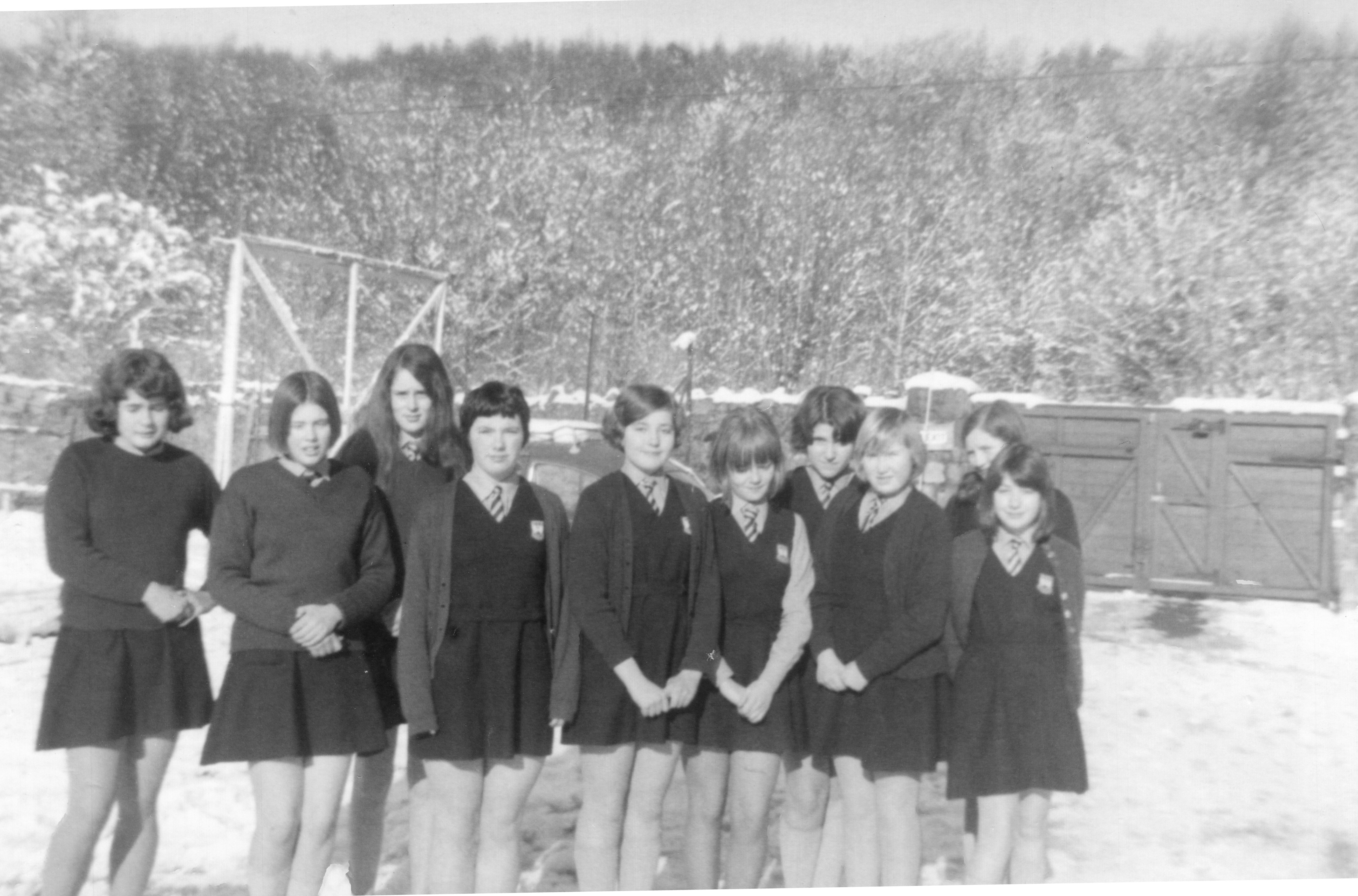 Group on a snowy day c 1968