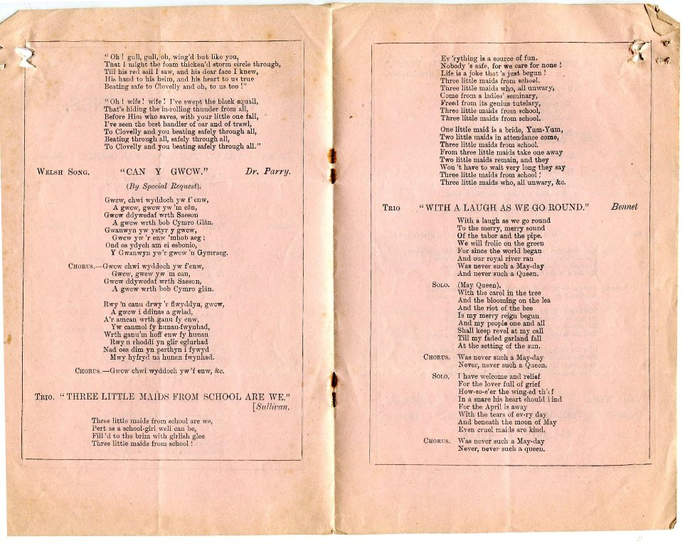 Centre fold of the 'Words of Songs' programme 1887