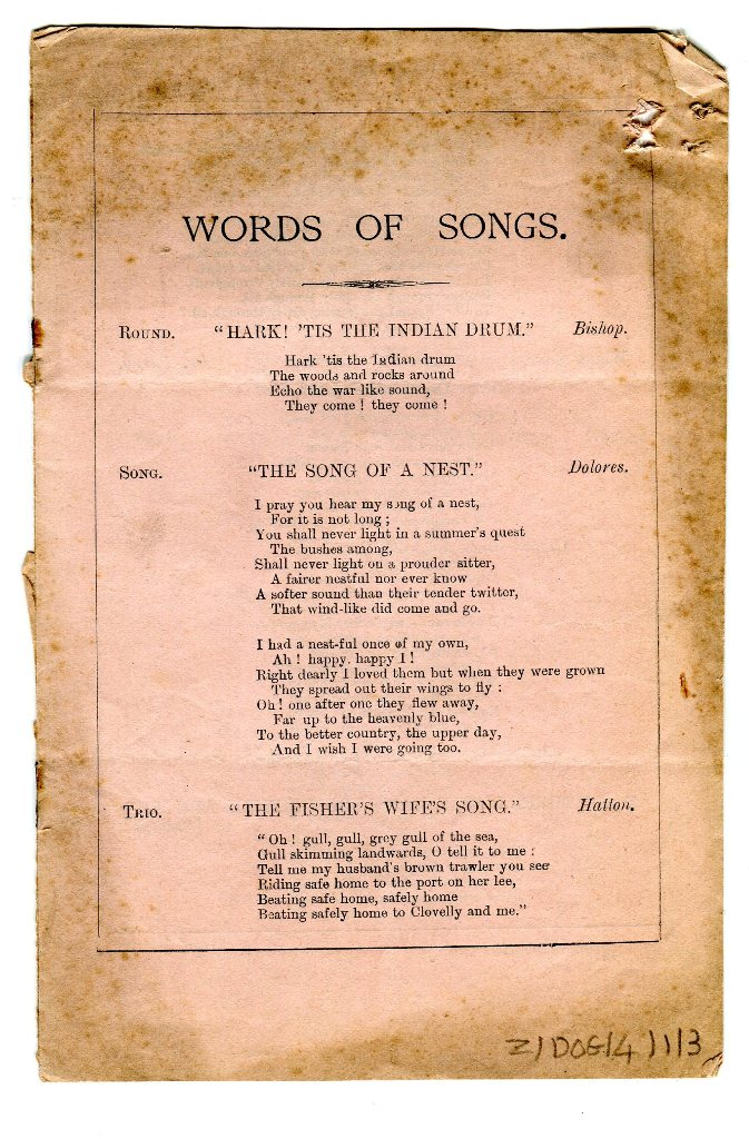 'Words of Songs' programme front cover 1887
