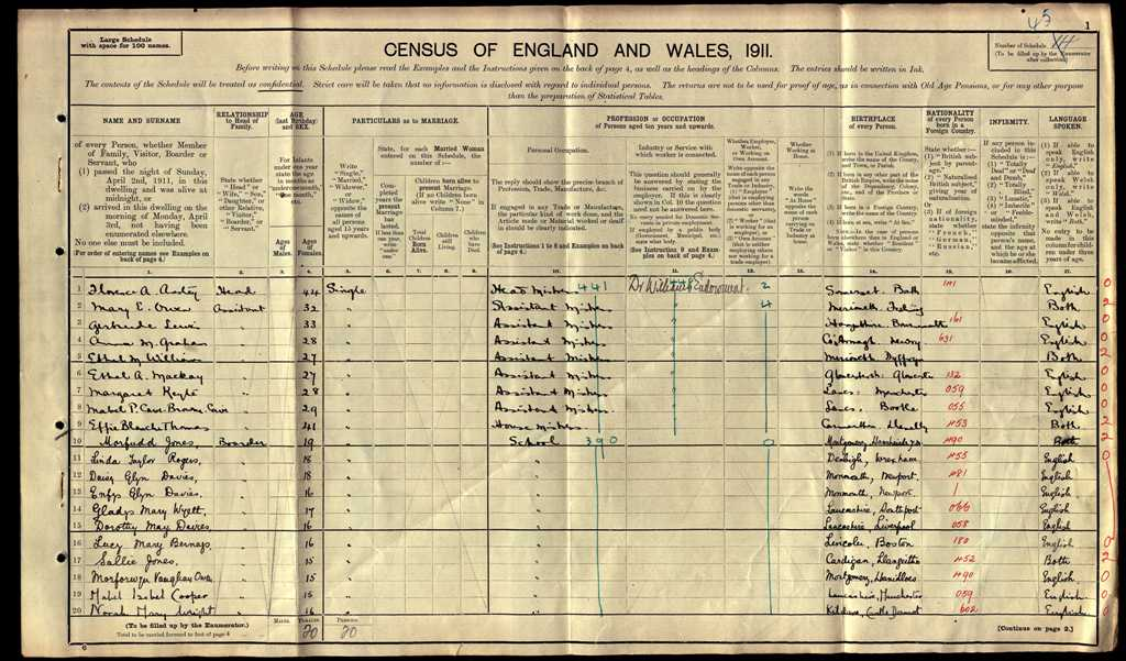 First page of DWS Census Return 1911
