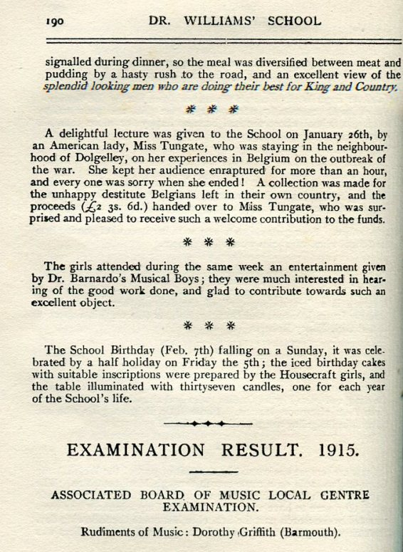 Miss Tungate's 'Delightful lecture' on being in Belgium 1914