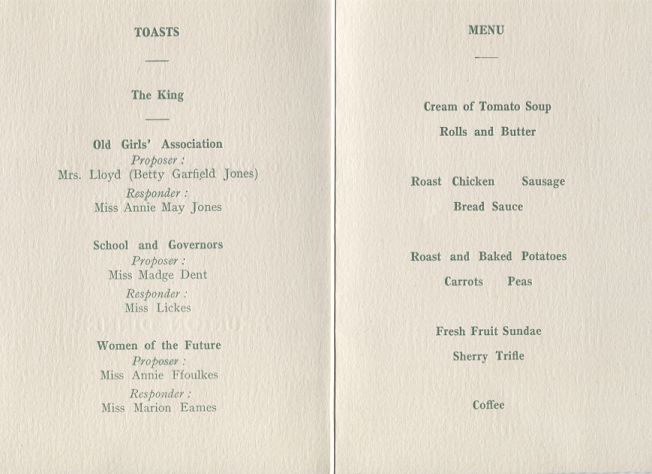 Reunion Dinner Menu, April 1950, Toasts 'Women of the Future