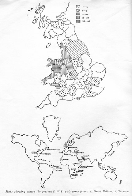 Maps showing where pupils came from in the 1960s