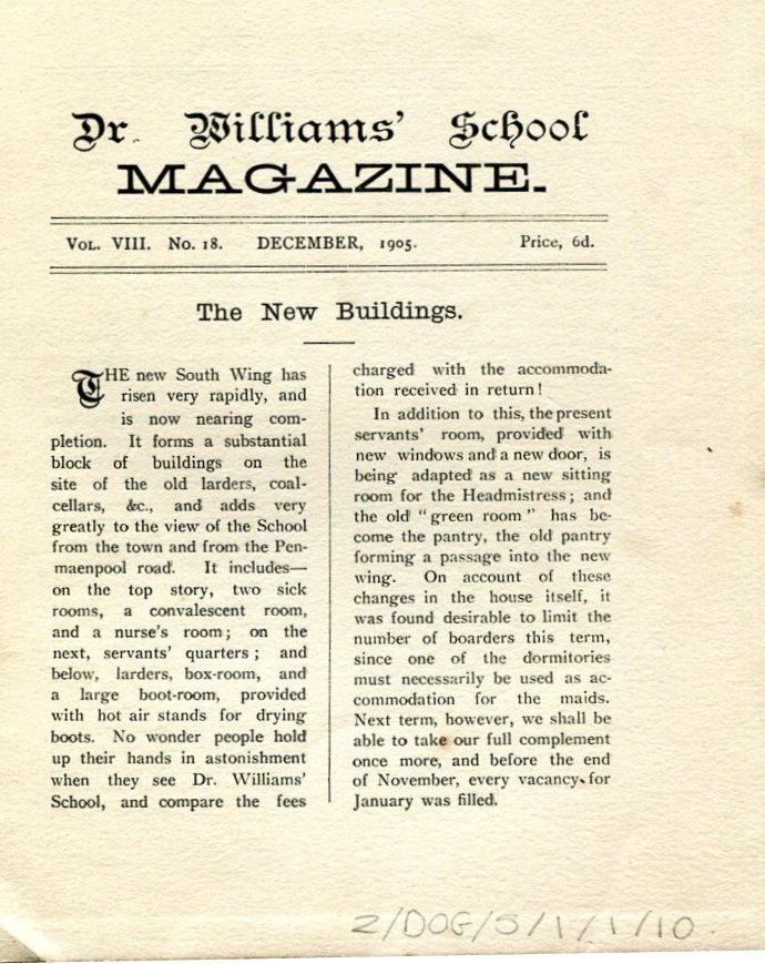 The New South Wing,  School Magazine December 1905