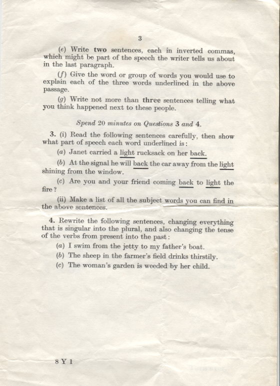 English Common Entrance exam at DWS -11 Plus, 1961, page 3