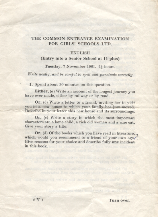 English Common Entrance exam at DWS -11 plus, 1961, Page 1