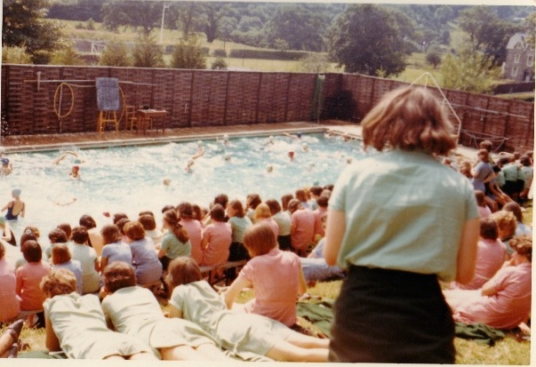 Swimming gala, school pool on a sunny day summer 1965-66