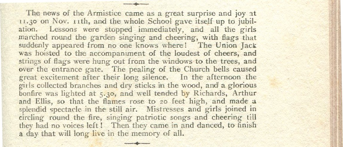News of the Armistice, November 11th 1918, DWS celebrated