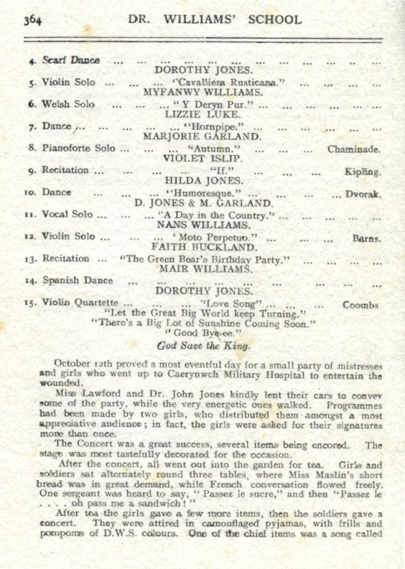 Entertainment at Caerynwch Military Hospital 1918 (page 1)