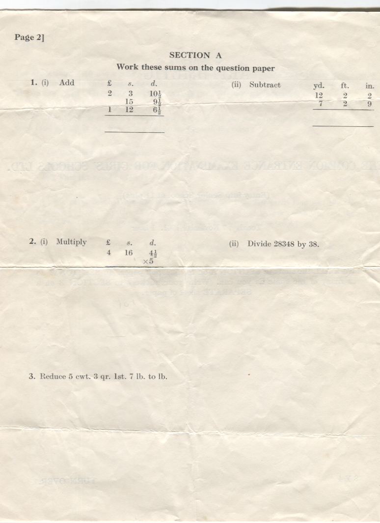 Arithmetic exam set at DWS, the 11 Plus- page 2 1961