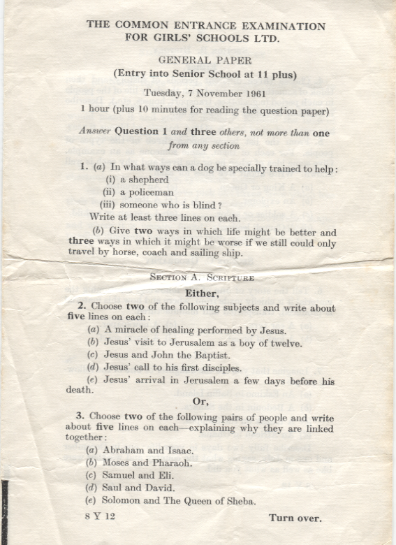 General Paper, Entry into Senior School at 11 plus 1961