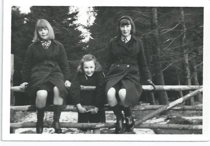 Three girls on a walk, possibly to 'Plantation' 1964