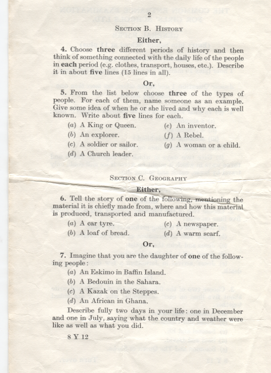 History and Geography ,11 plus exam used at DWS 1961