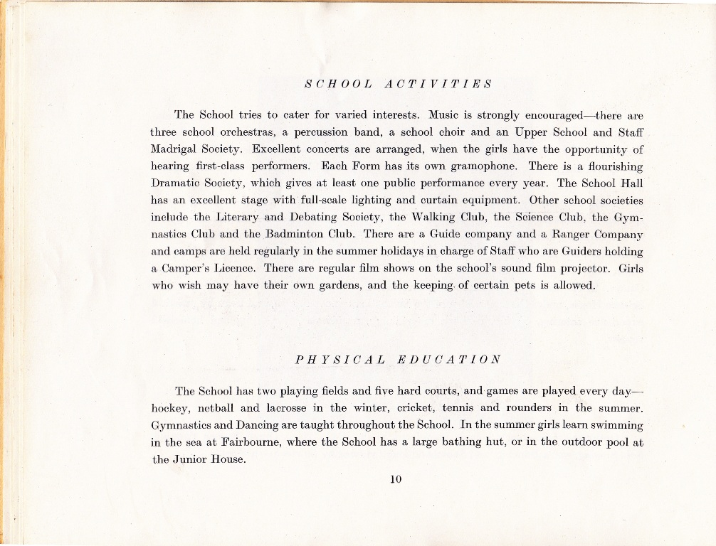 Clubs,music,entertainment,activities, games. 1960 Prospectus