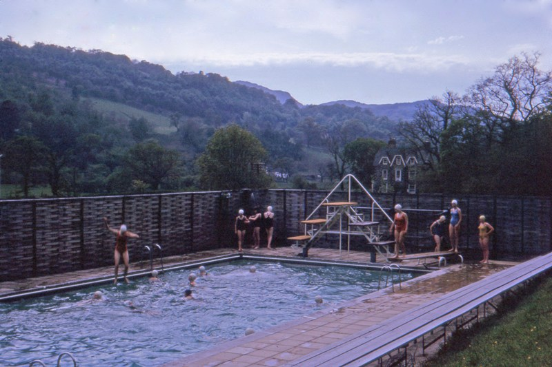 Swimming pool view shows pupils and Tremhyfryd 1966