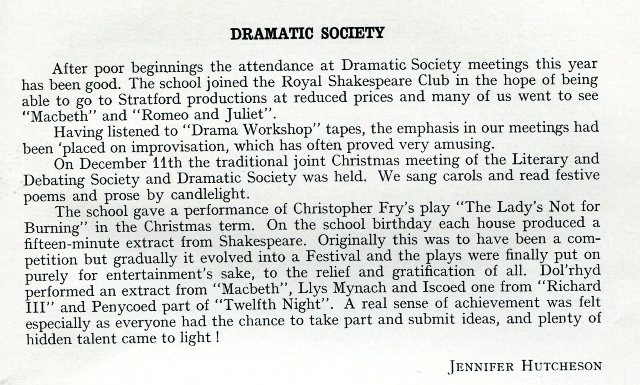 Magazine article about the school dramatic society
