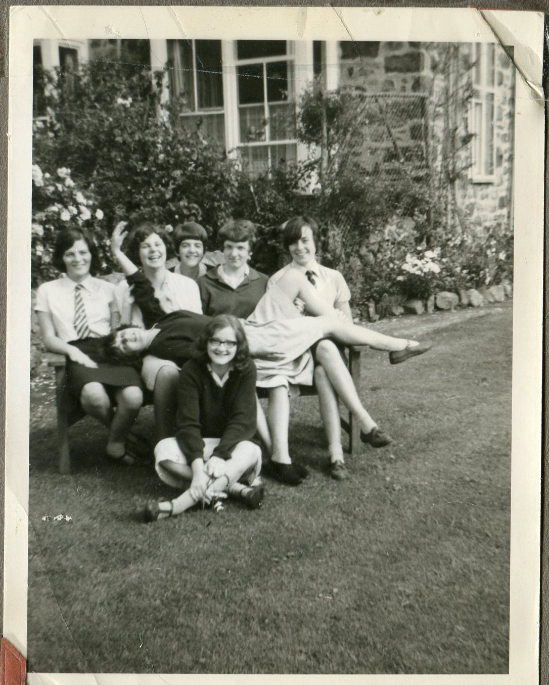 Seniors outside Staff House end of Summer term 1962