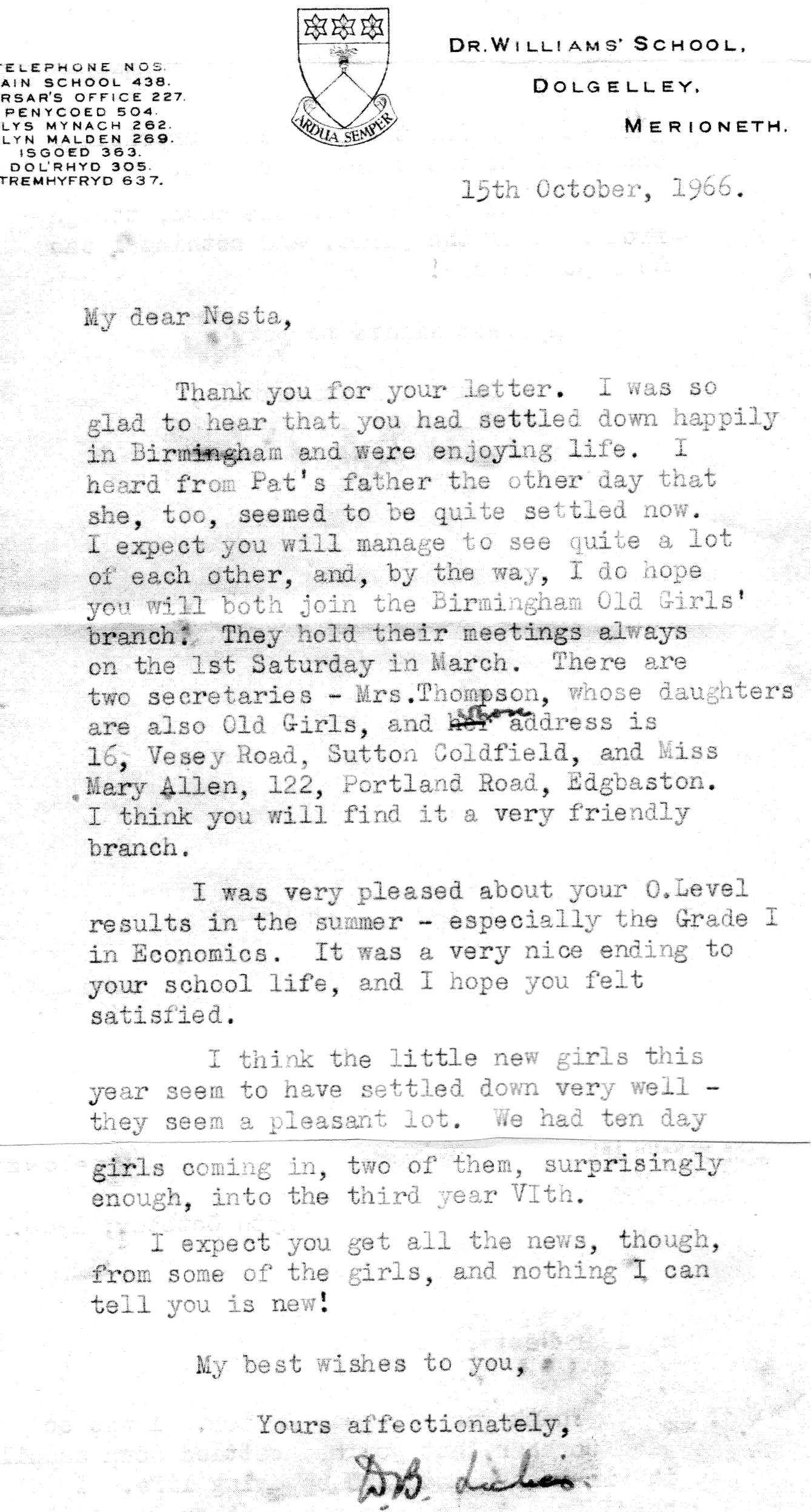 1966 Letter from Miss Lickes in response to Nesta Roberts's