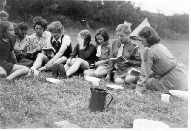 Group photograph of students at Guide camp, 1948