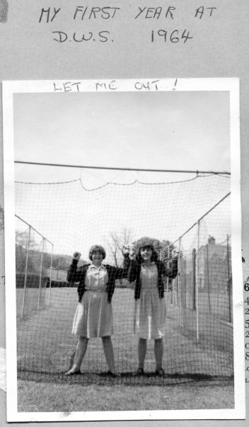 Antonia Leech and Margaret Morgan in the cricket nets, 1964