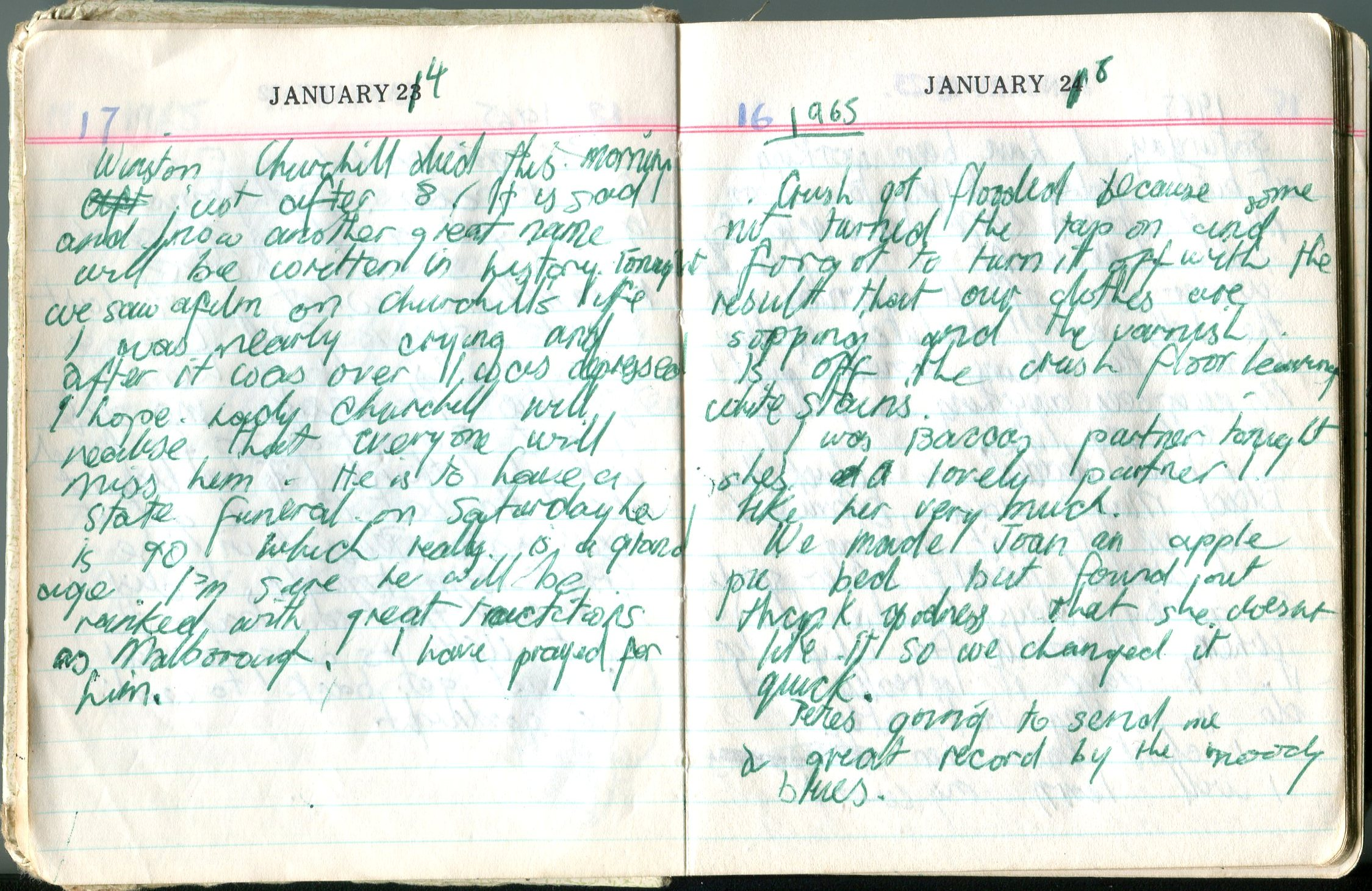 Jennifer Hutcheson's diary, January 1965