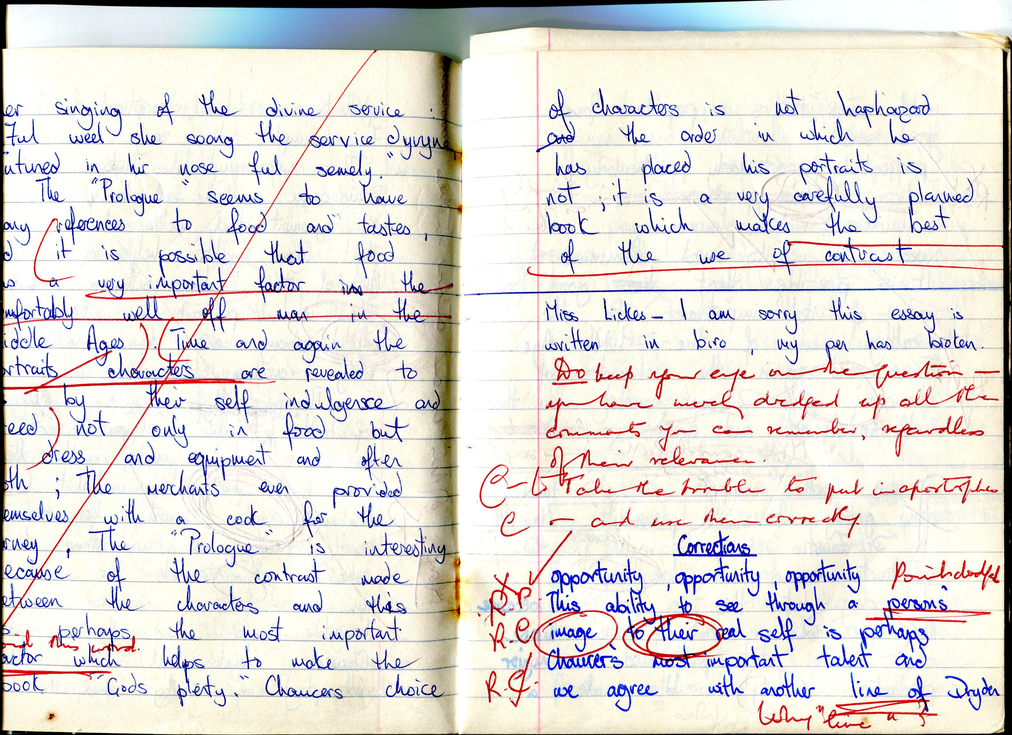 Extract from a pupil's essay with corrections, circa 1966