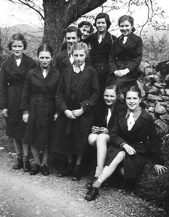 Students on a hike, 1950