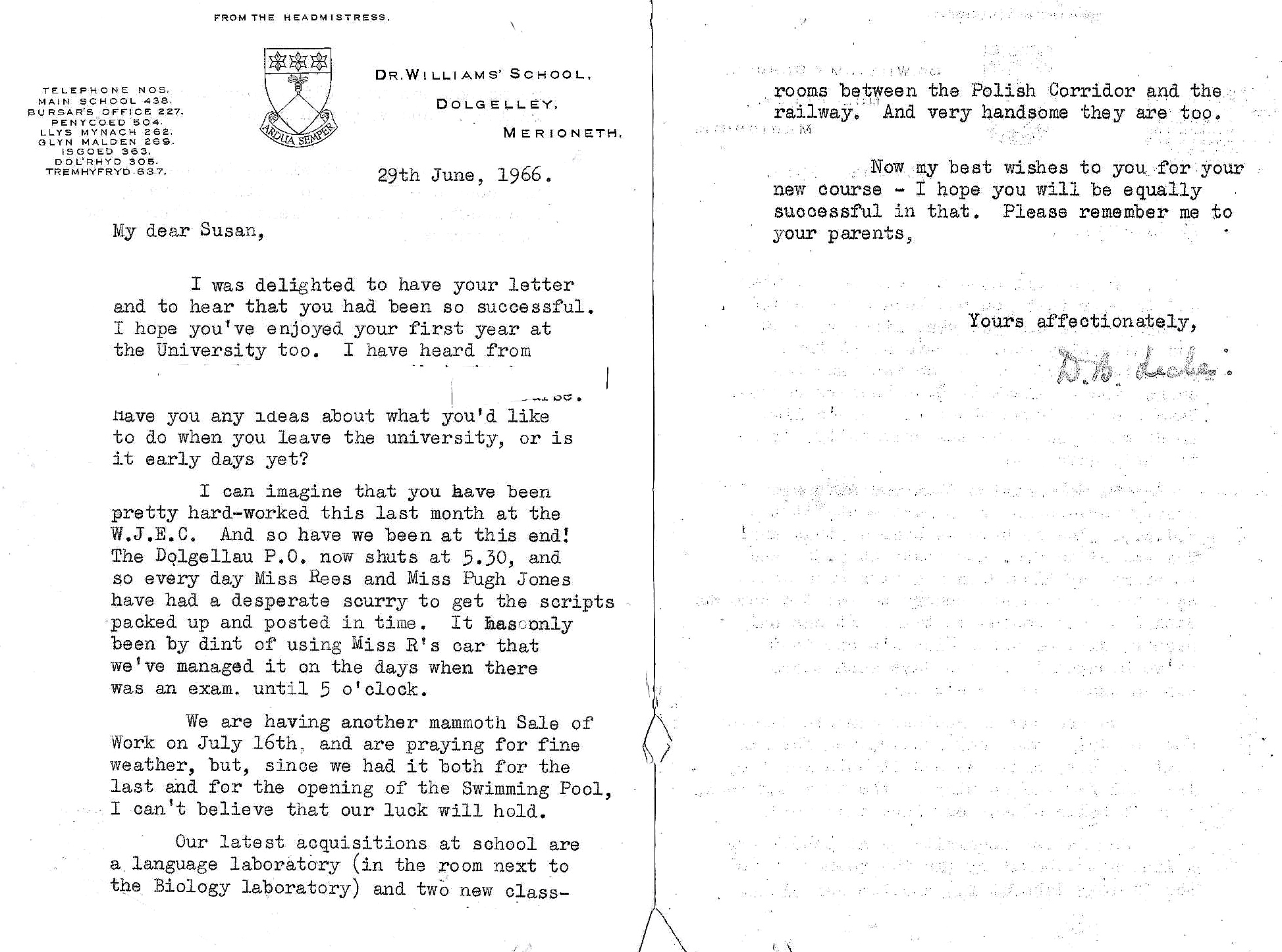 Letter from Miss Lickes 1966