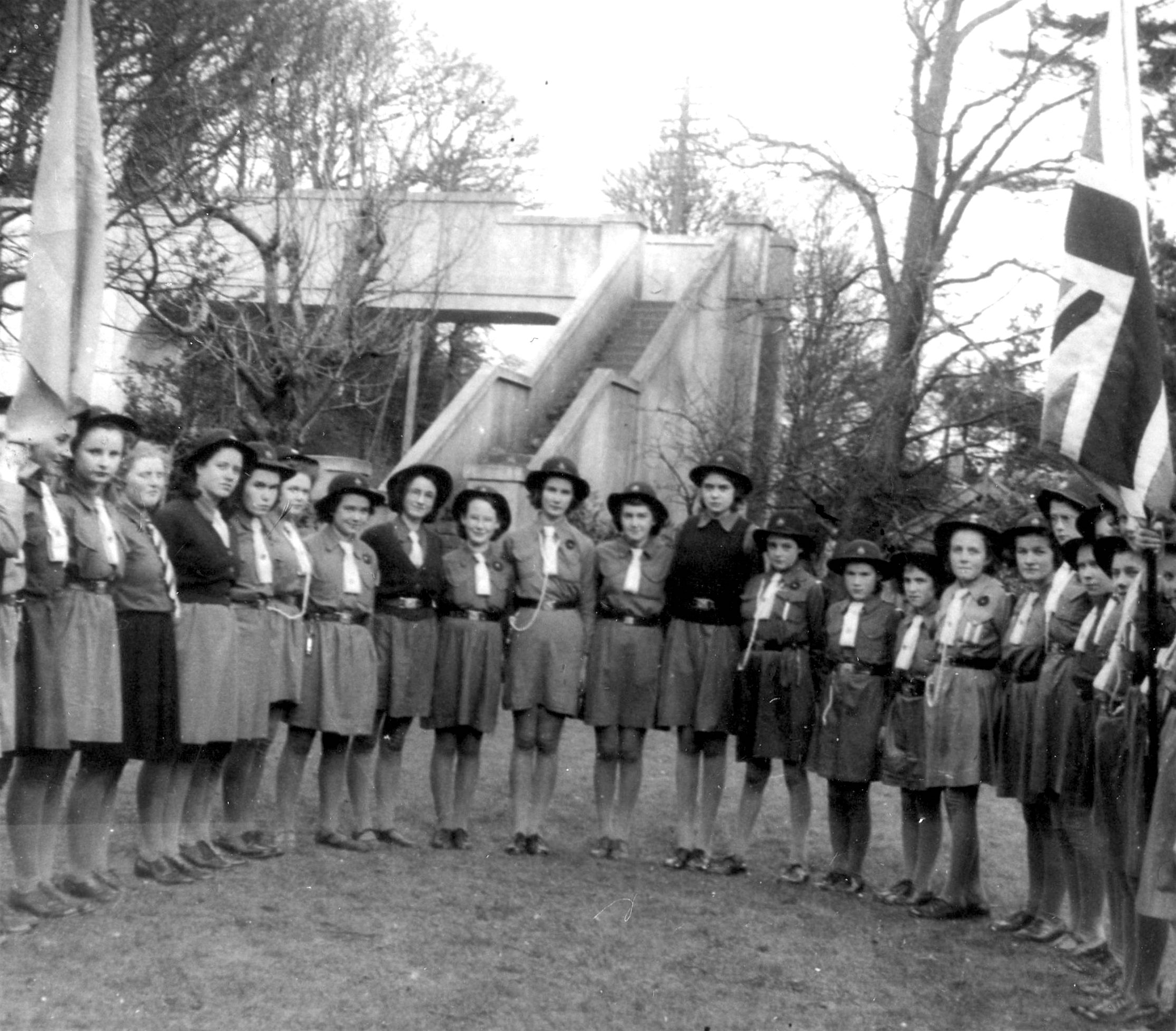 Girl Guides in front of the School Bridge in the 1940s